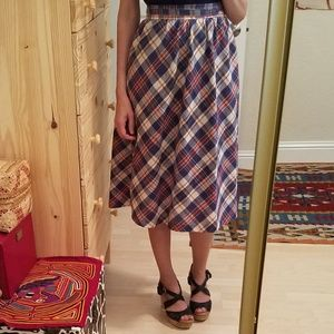 Vintage Albee Plaid Wrap Skirt With Pockets S/M